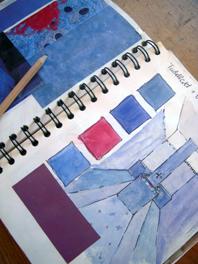 architect skizze blau